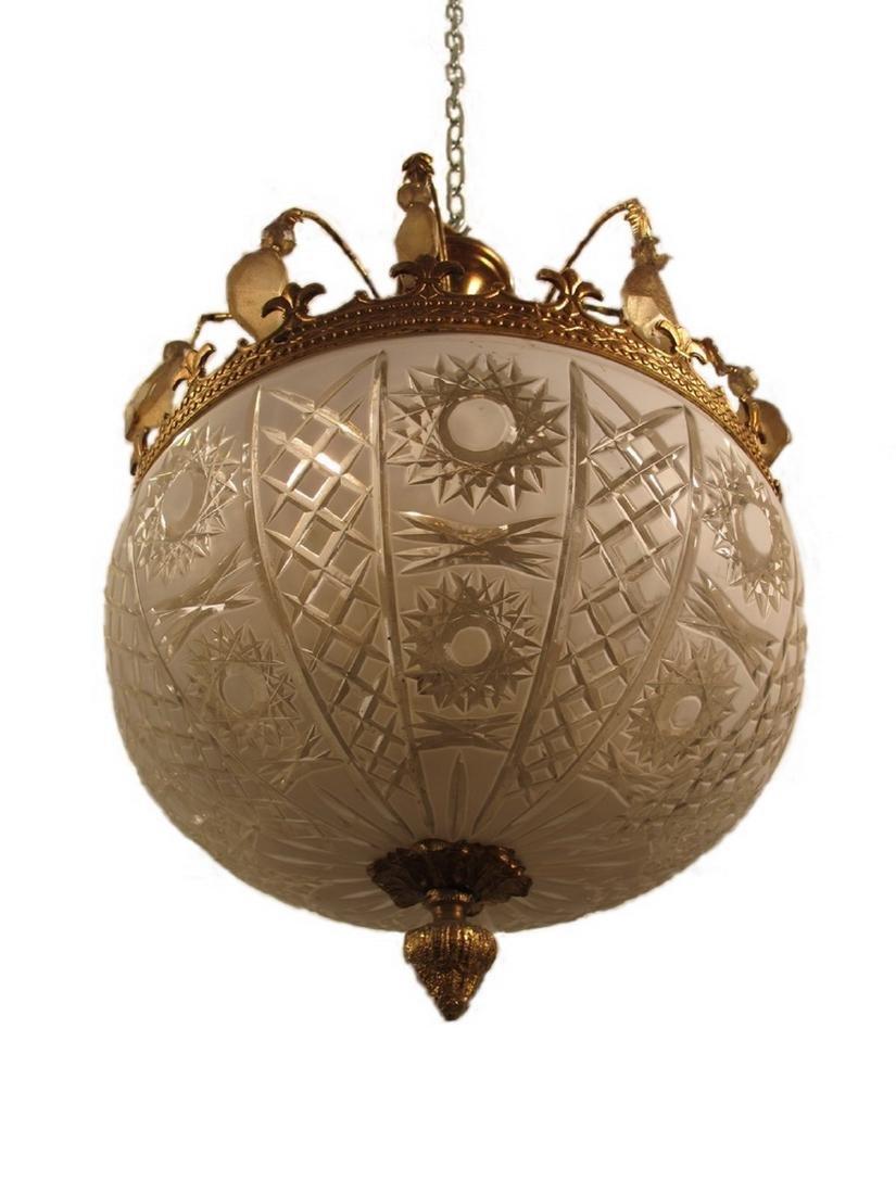 Antique French bronze & glass chandelier - 2