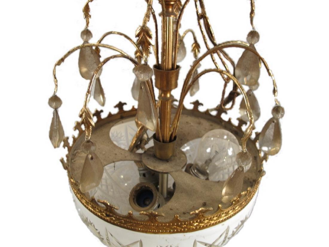 Antique French bronze & glass chandelier - 3