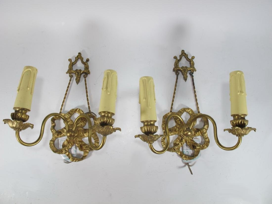 French pair of bronze wall sconces