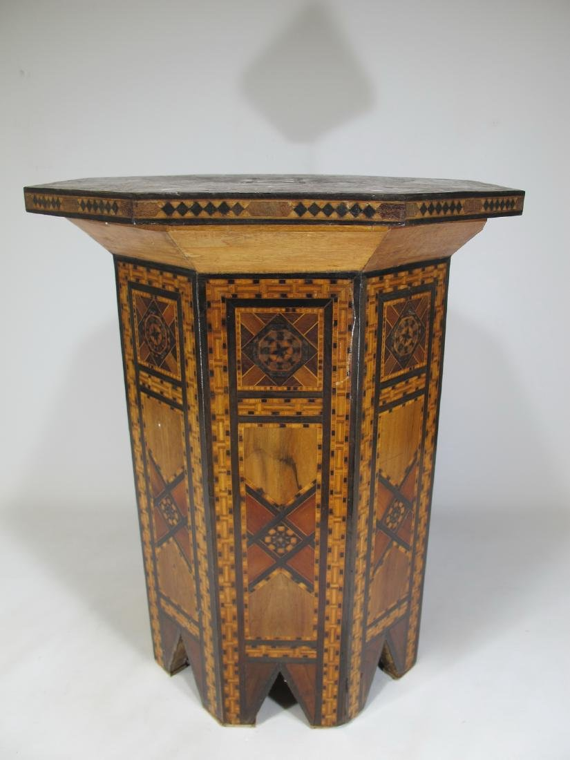 Antique Moroccan inlide wood stool box