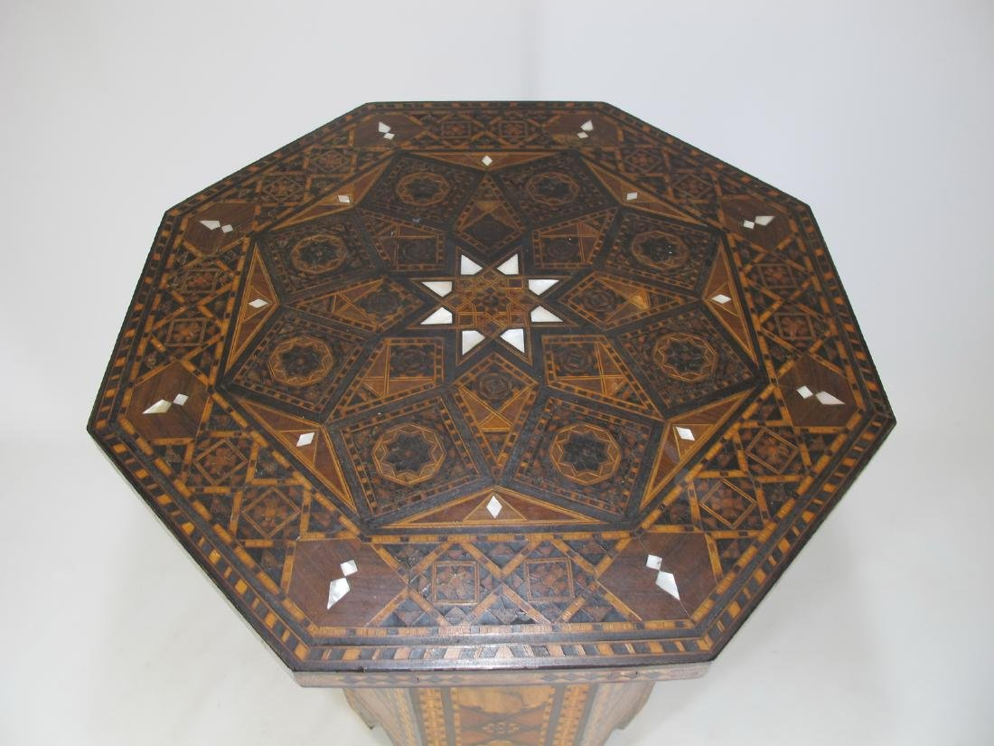 Antique Moroccan inlide wood stool box - 2