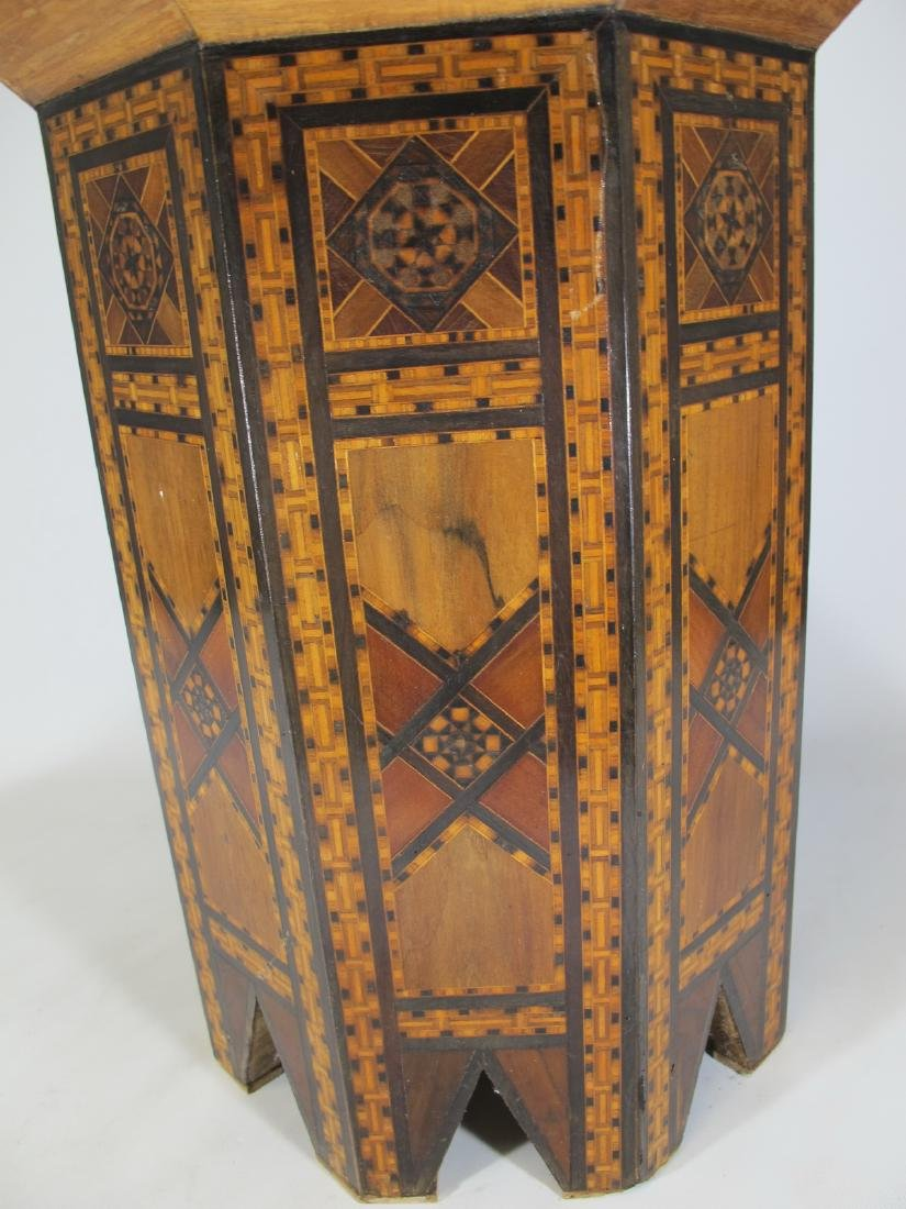 Antique Moroccan inlide wood stool box - 4