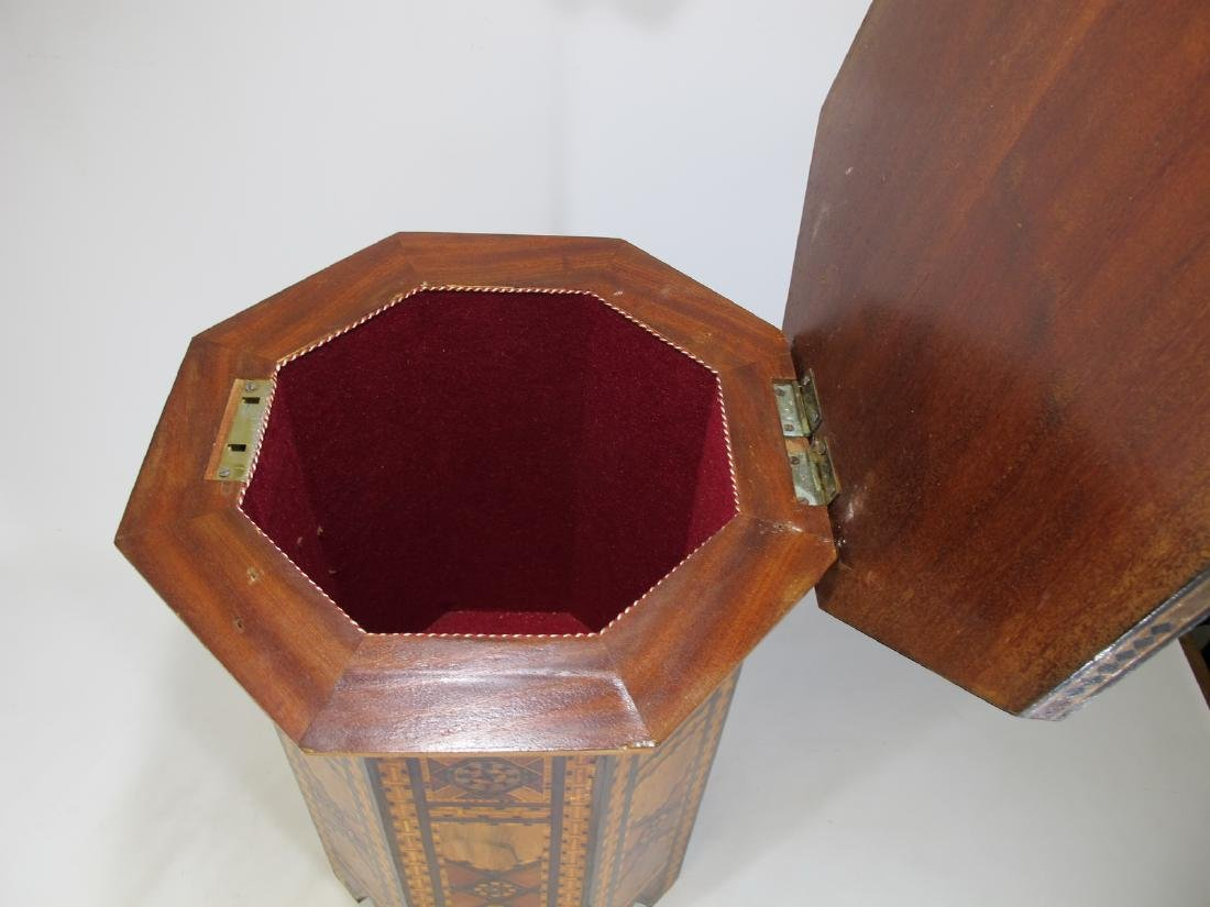 Antique Moroccan inlide wood stool box - 5