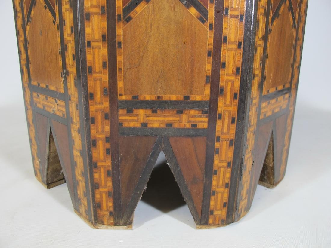Antique Moroccan inlide wood stool box - 7