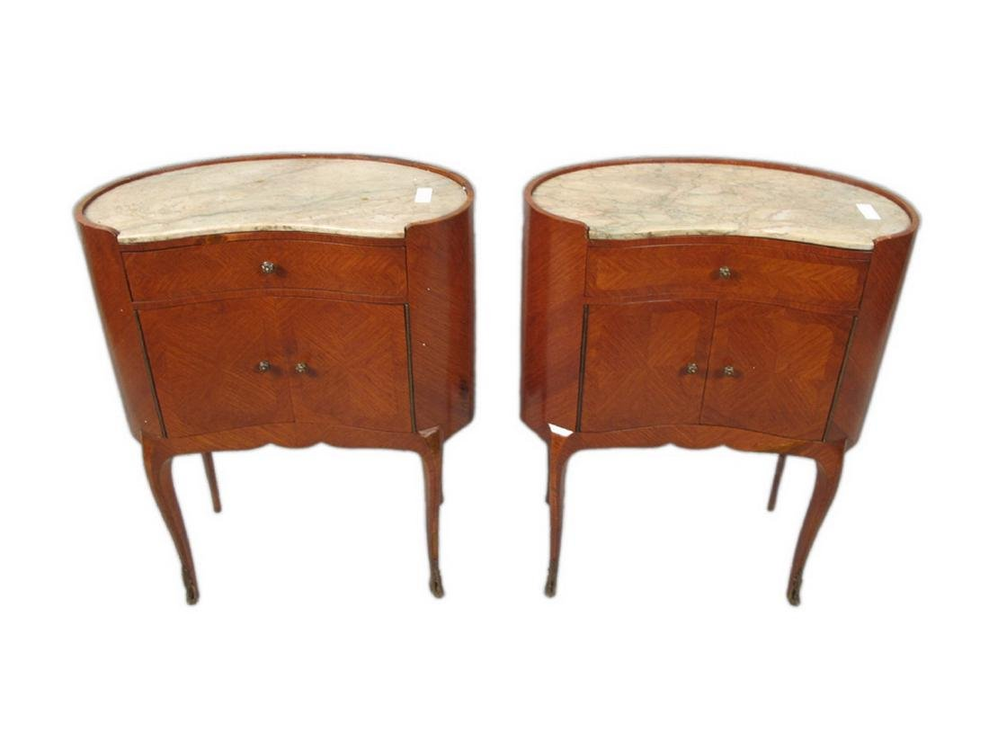Antique pair of kidney shap marble top nightstands