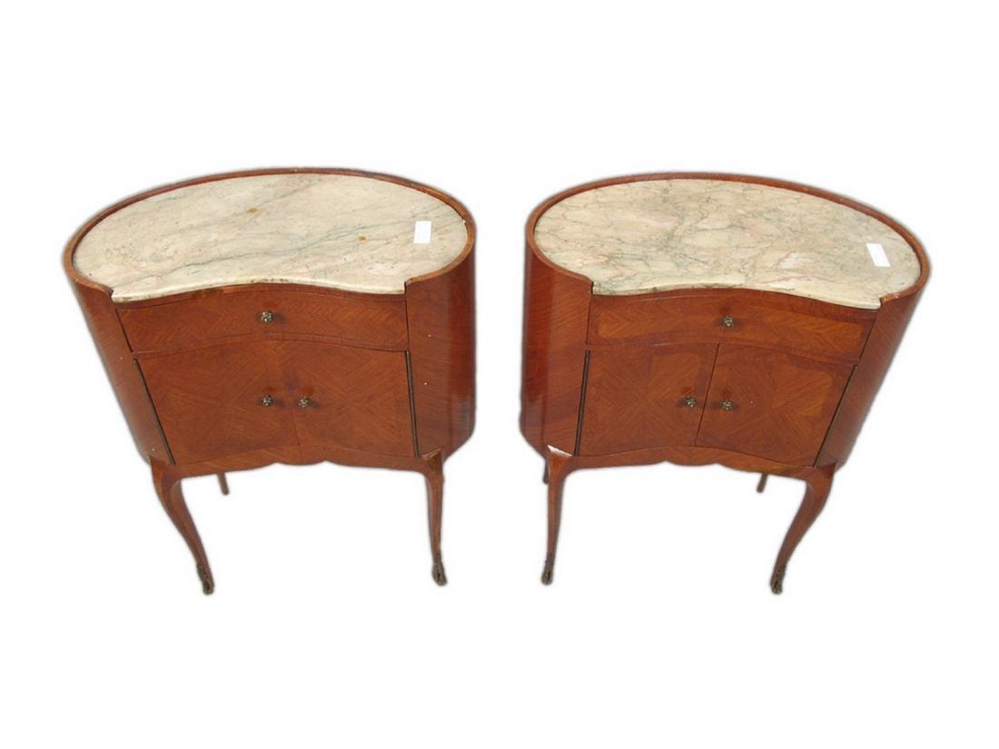 Antique pair of kidney shap marble top nightstands - 2