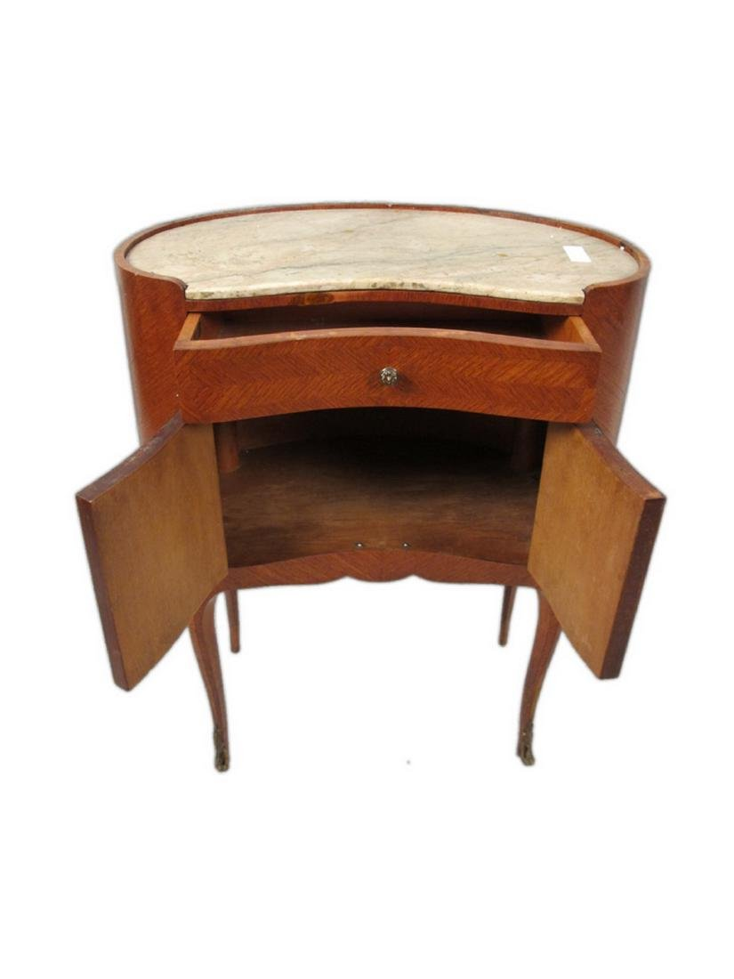 Antique pair of kidney shap marble top nightstands - 3