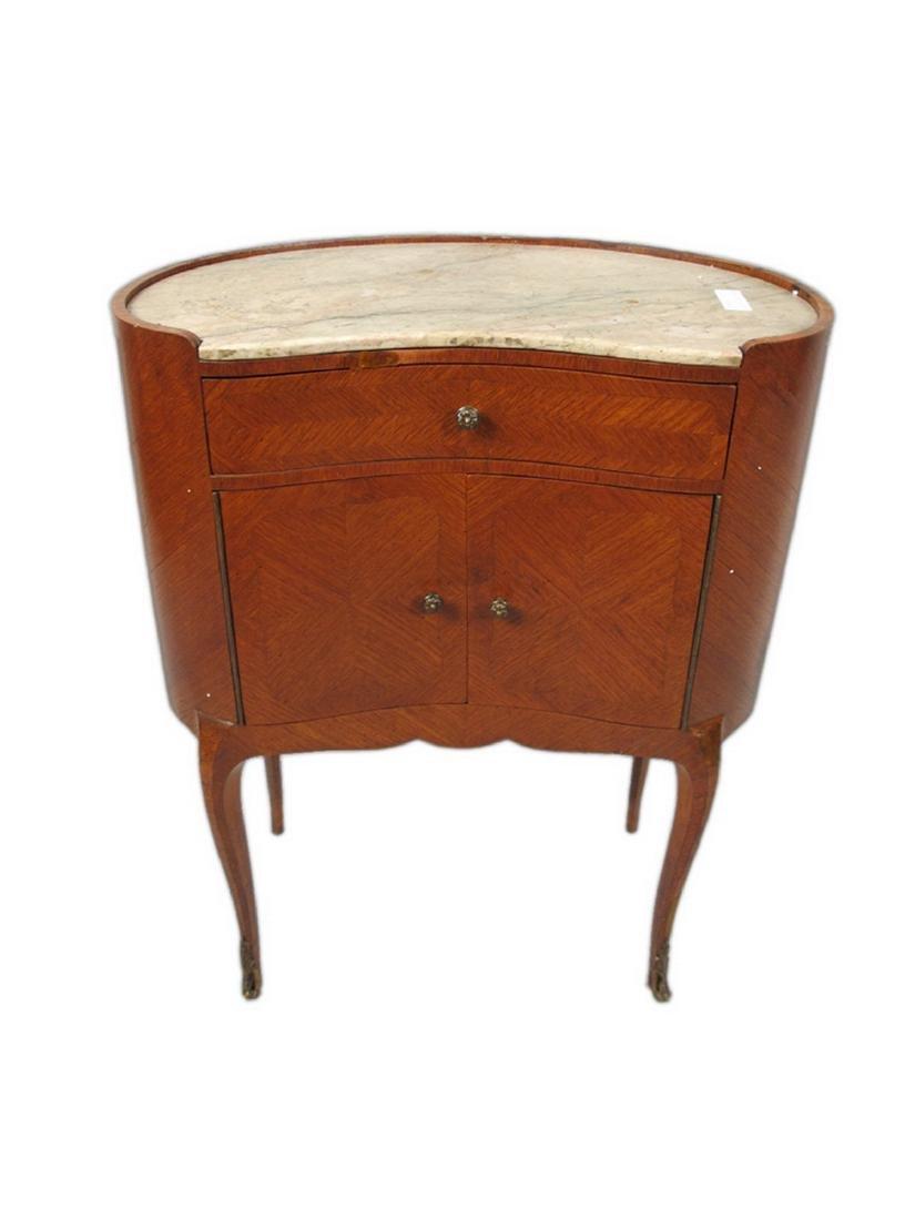 Antique pair of kidney shap marble top nightstands - 4