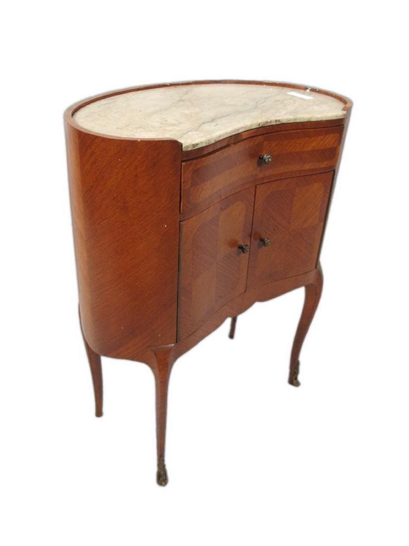 Antique pair of kidney shap marble top nightstands - 5