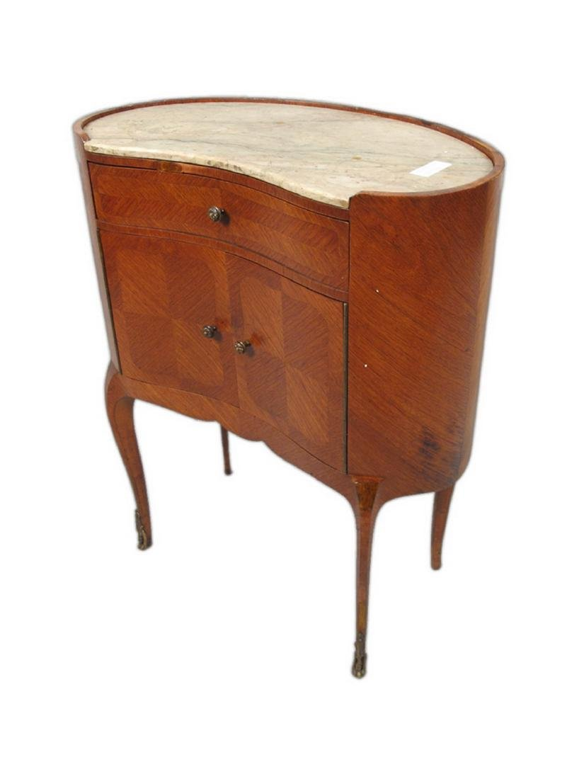 Antique pair of kidney shap marble top nightstands - 8