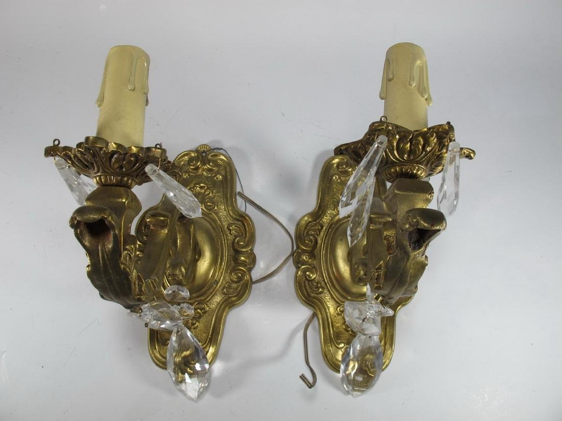Vintage pair of  French bronze & glass wall sconces - 2