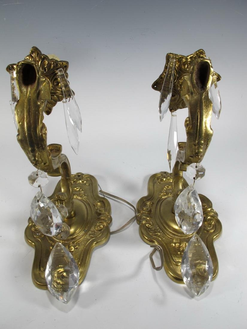 Vintage pair of  French bronze & glass wall sconces - 3