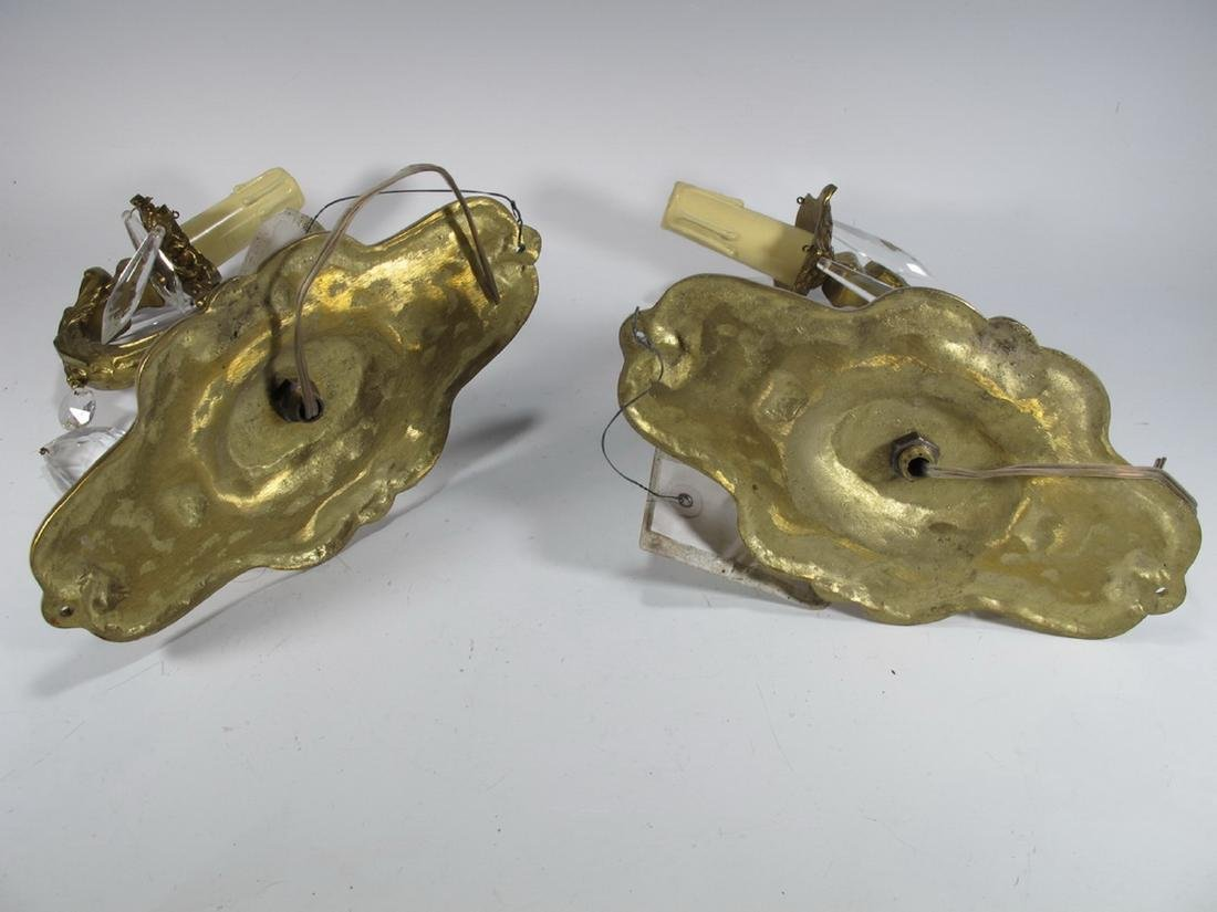 Vintage pair of  French bronze & glass wall sconces - 5