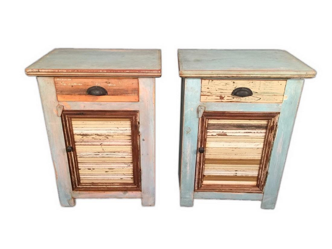 Pair of Unique Modern Rustic Style Nightstands