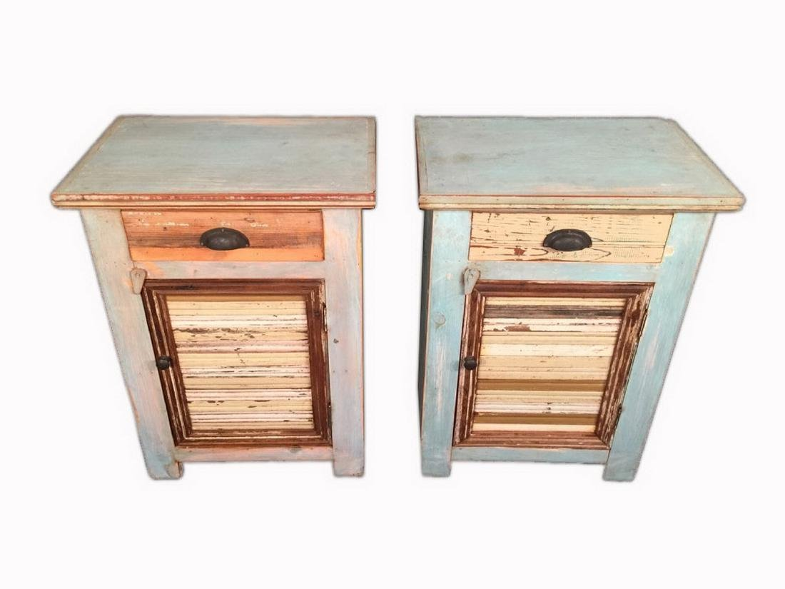 Pair of Unique Modern Rustic Style Nightstands - 2