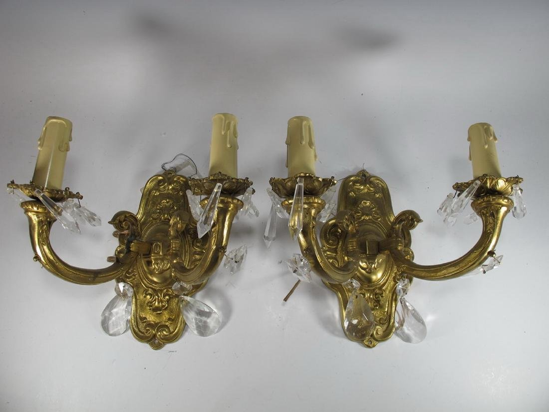 Vintage pair of  French bronze & glass wall sconces