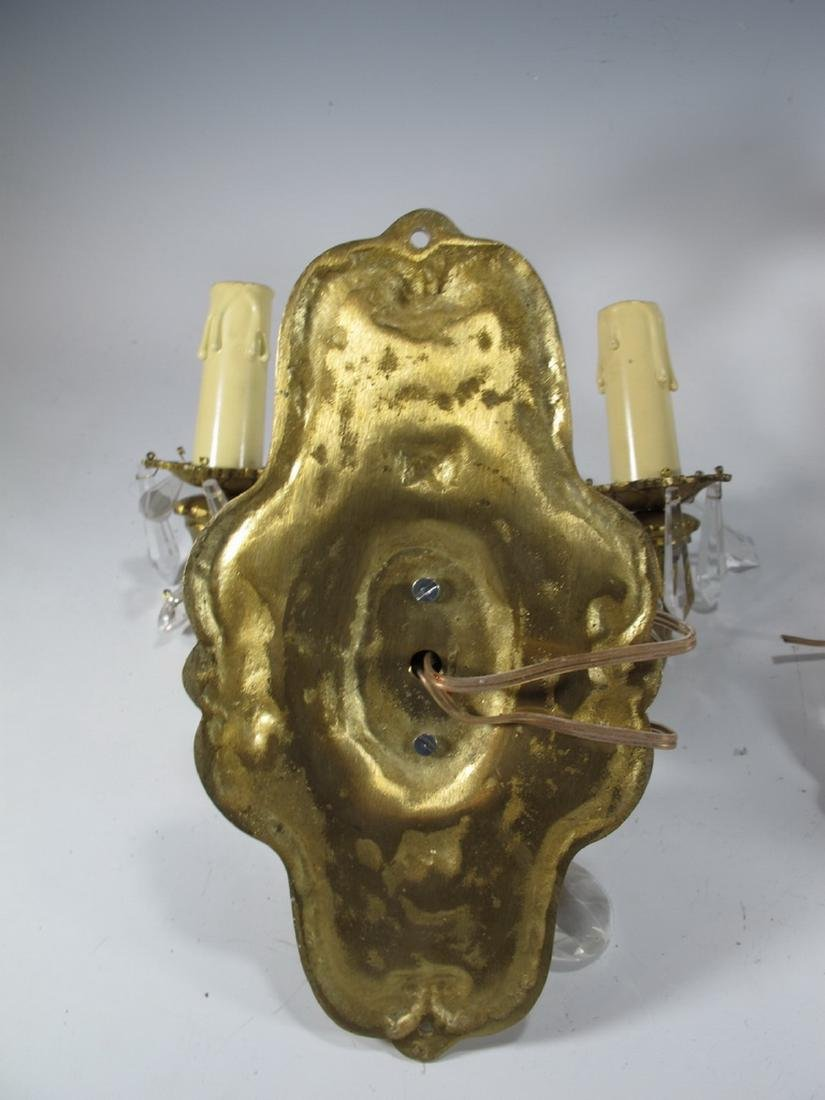 Vintage pair of  French bronze & glass wall sconces - 6