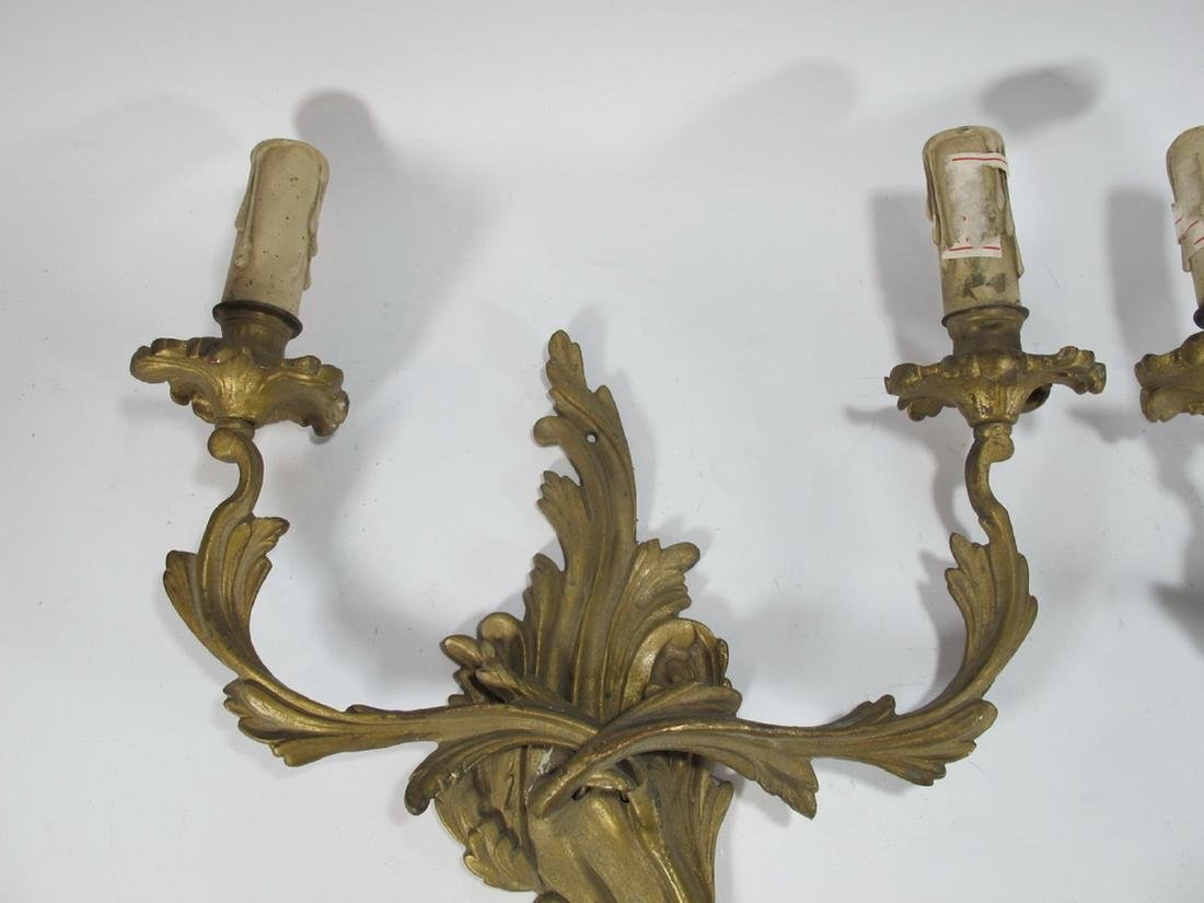 Vintage  French pair of bronze wall sconces - 2