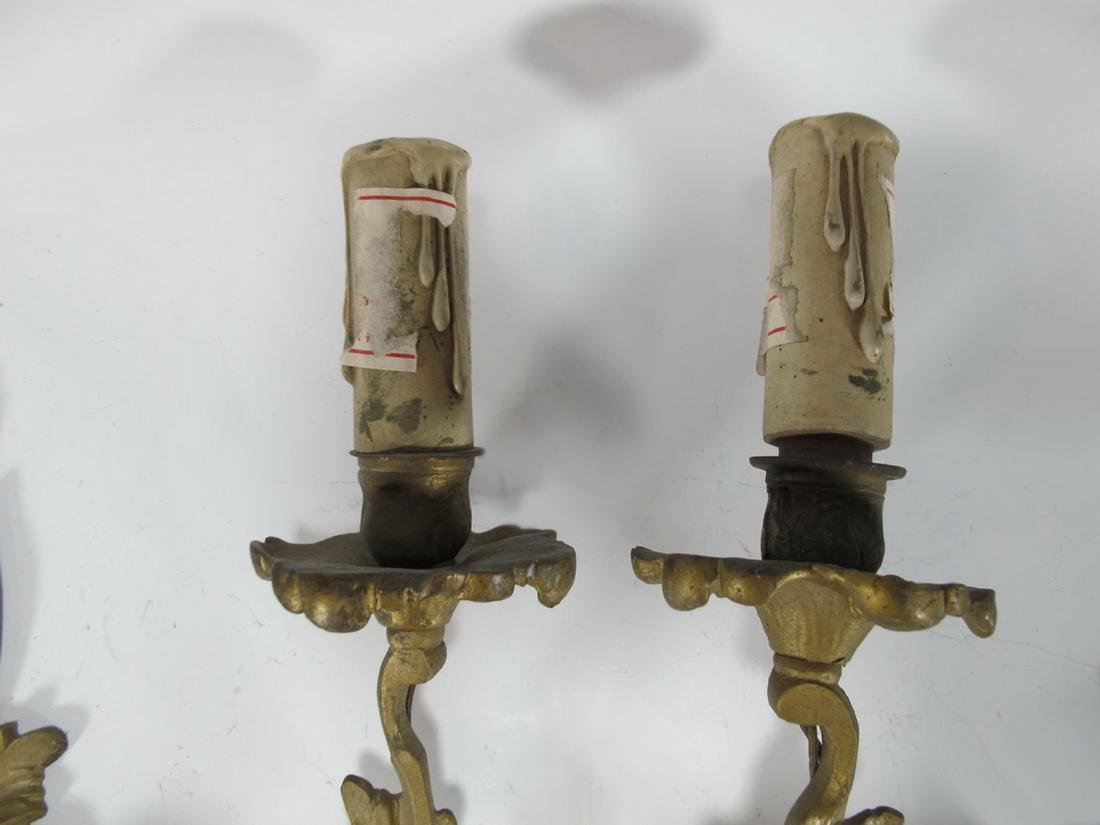 Vintage  French pair of bronze wall sconces - 4