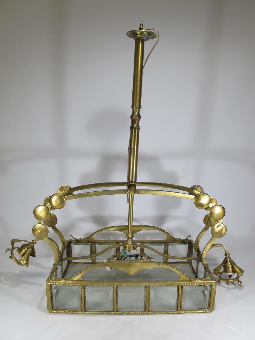 Antique Art Nouveau French bronze & glass chandelier