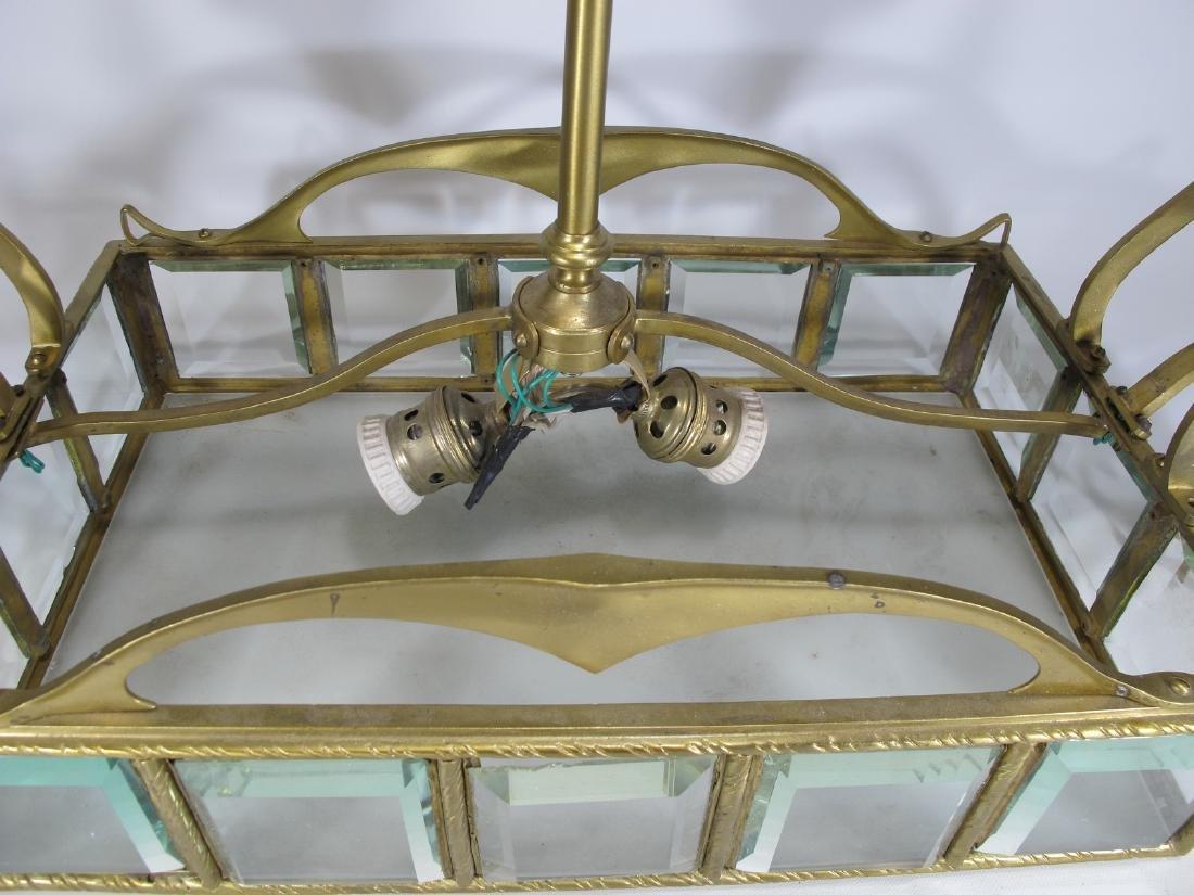 Antique Art Nouveau French bronze & glass chandelier - 4