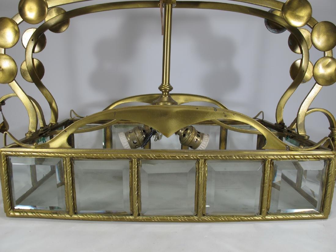 Antique Art Nouveau French bronze & glass chandelier - 5