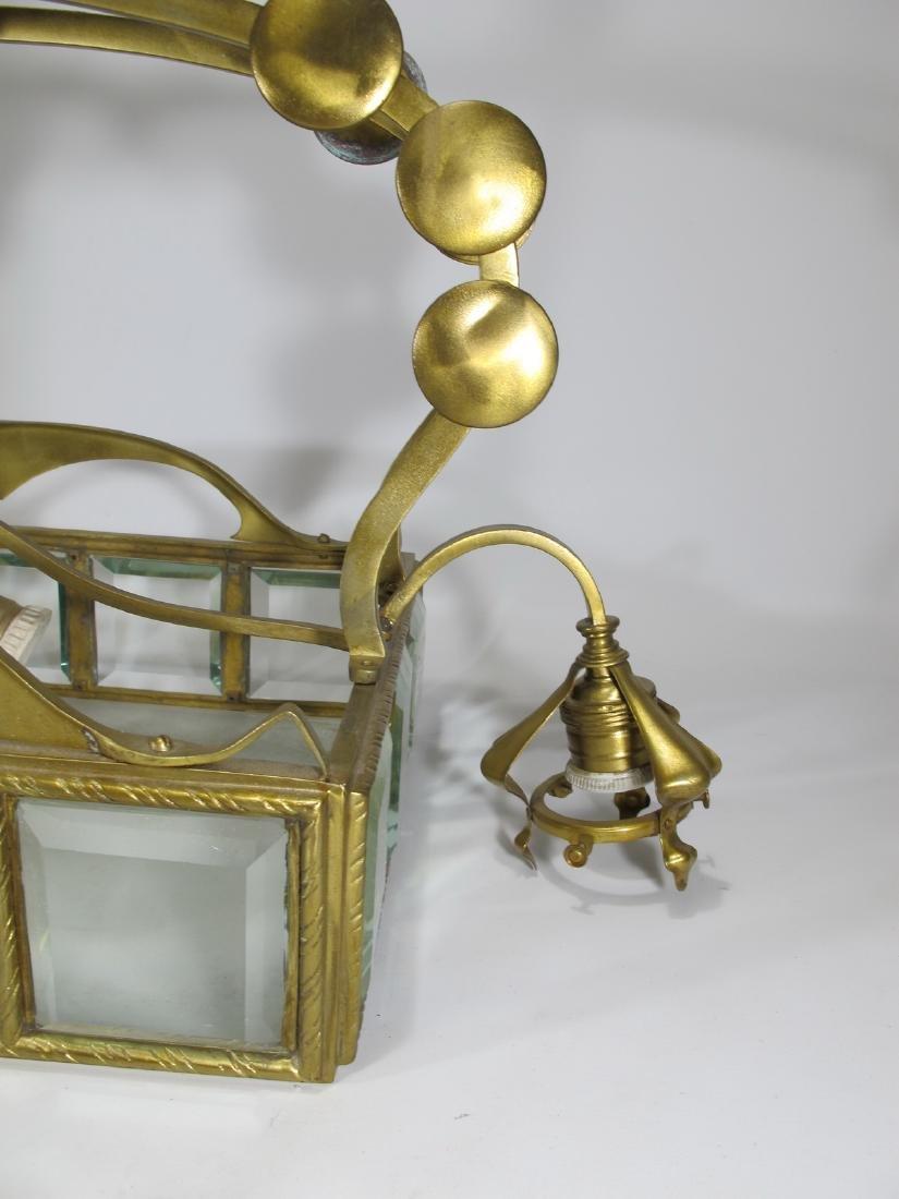 Antique Art Nouveau French bronze & glass chandelier - 6