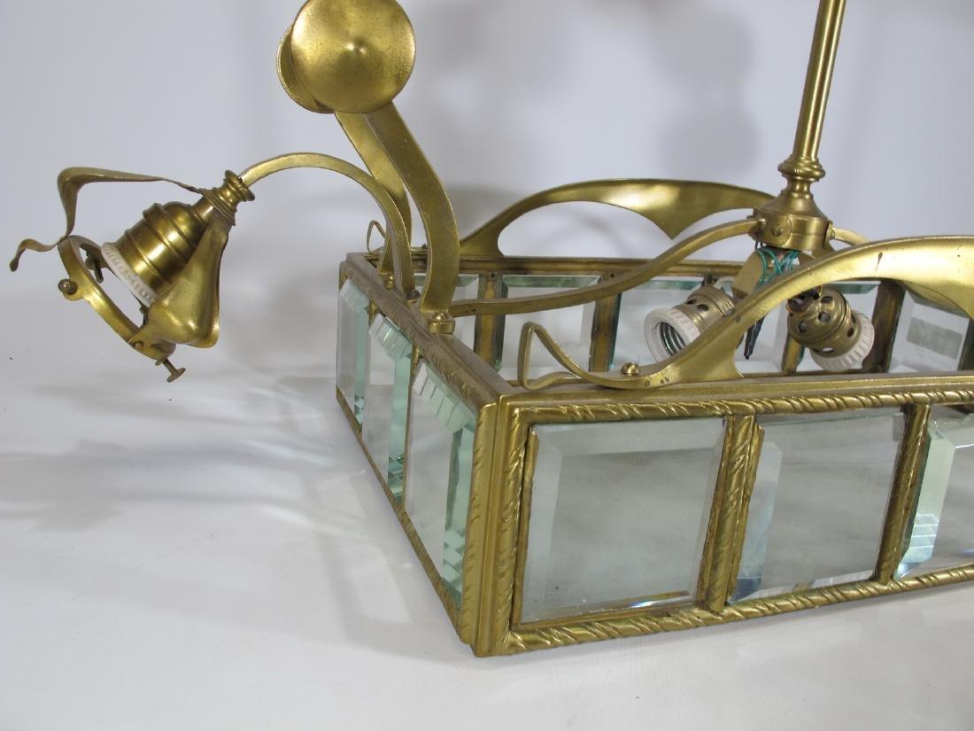 Antique Art Nouveau French bronze & glass chandelier - 7