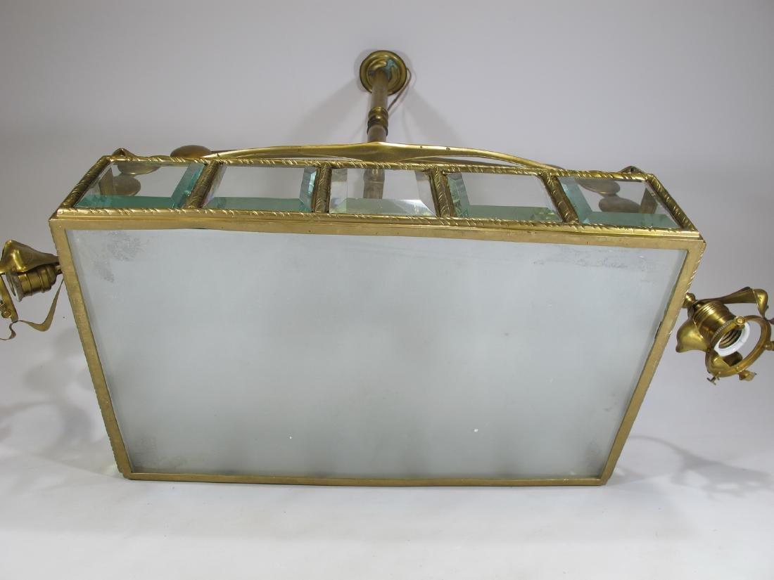 Antique Art Nouveau French bronze & glass chandelier - 8