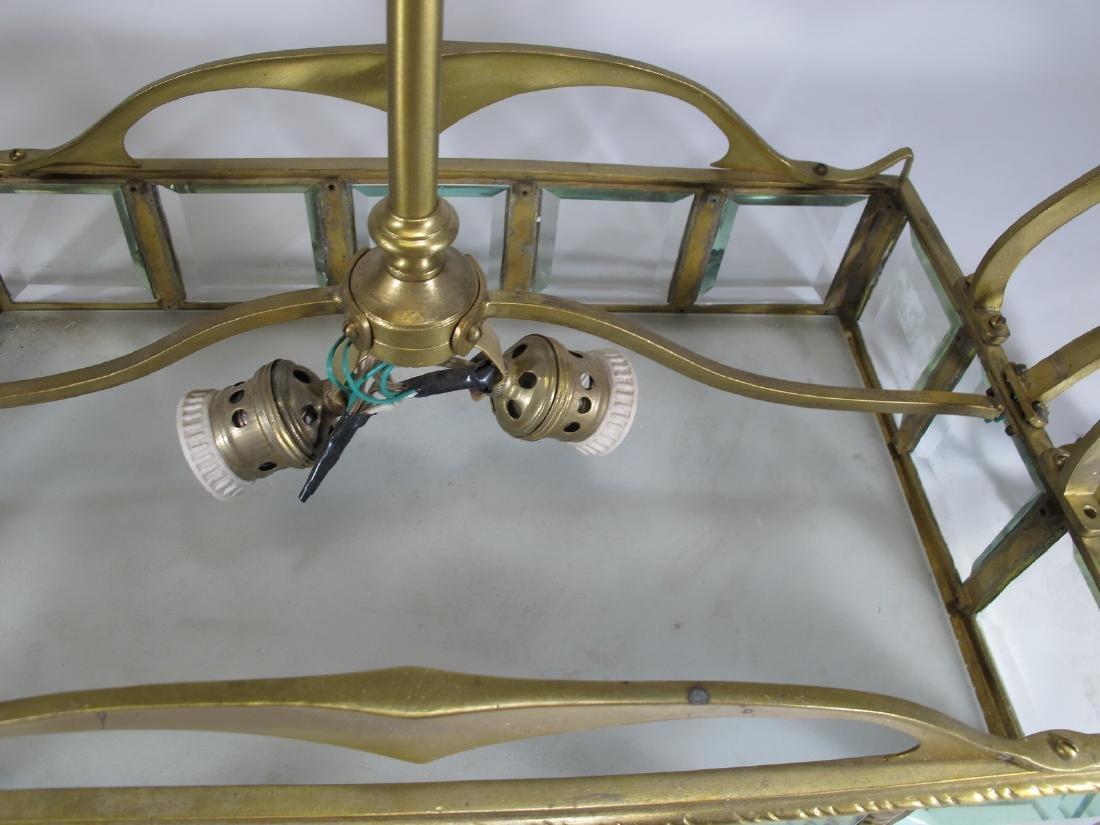 Antique Art Nouveau French bronze & glass chandelier - 9