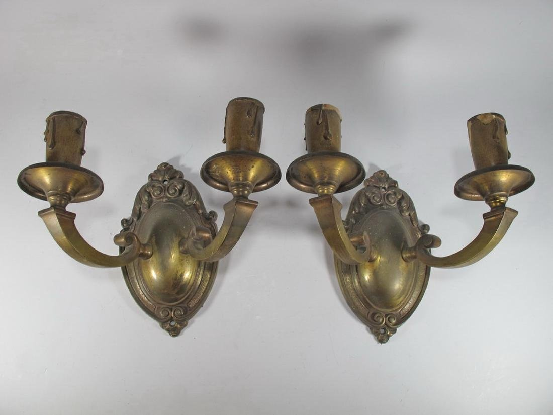 Vintage pair of French bronze wall sconces