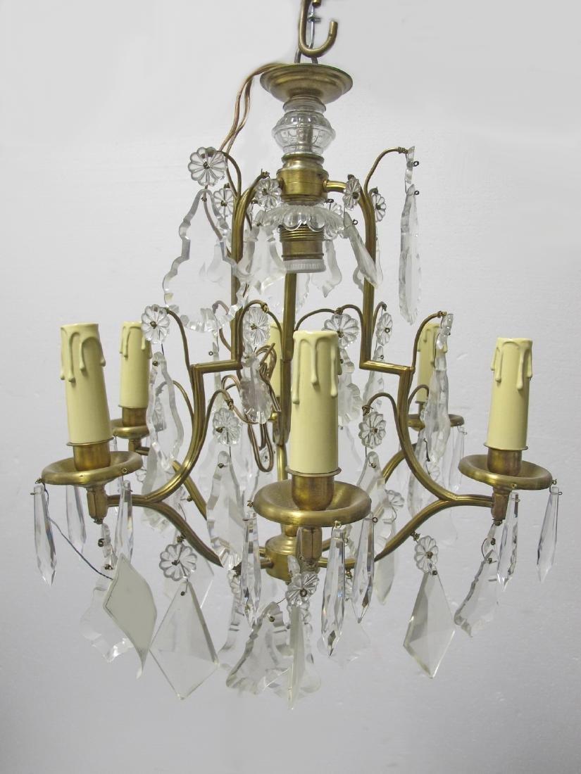 Antique French bronze & crystals chandelier