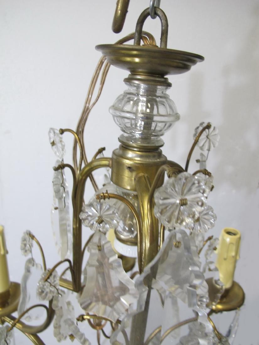 Antique French bronze & crystals chandelier - 3