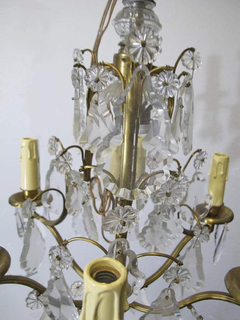 Antique French bronze & crystals chandelier - 4