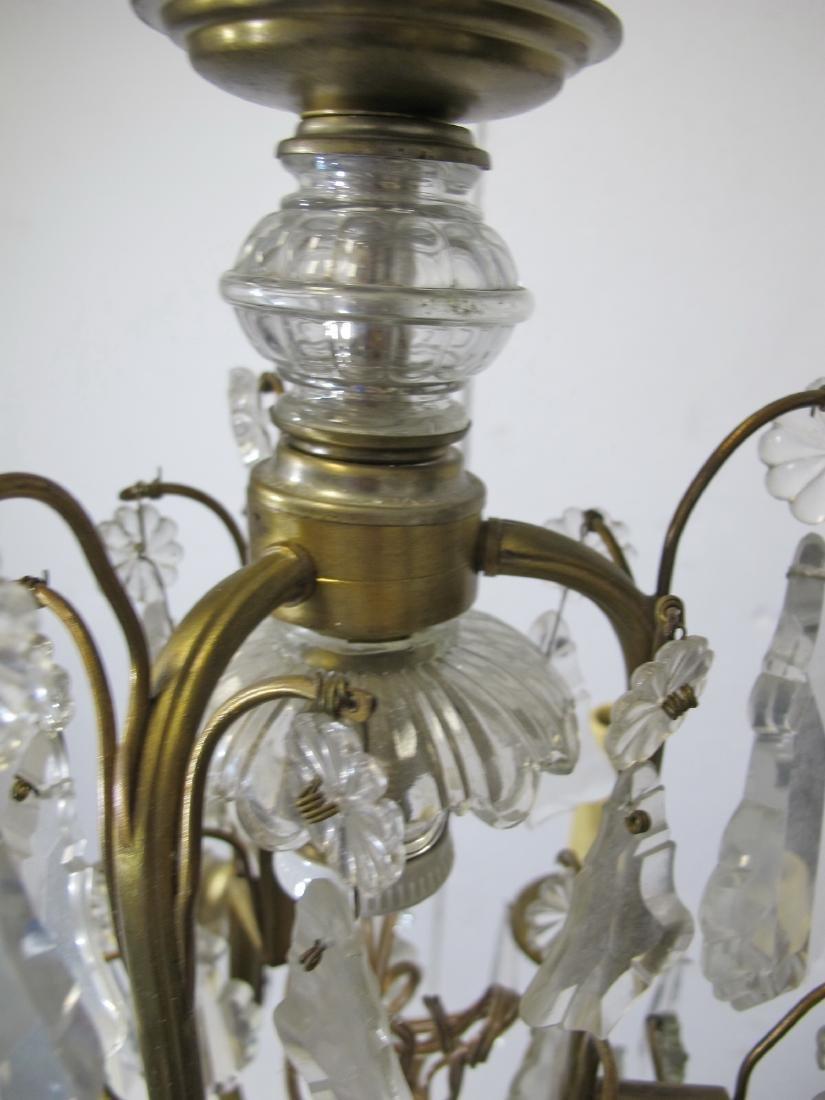 Antique French bronze & crystals chandelier - 8