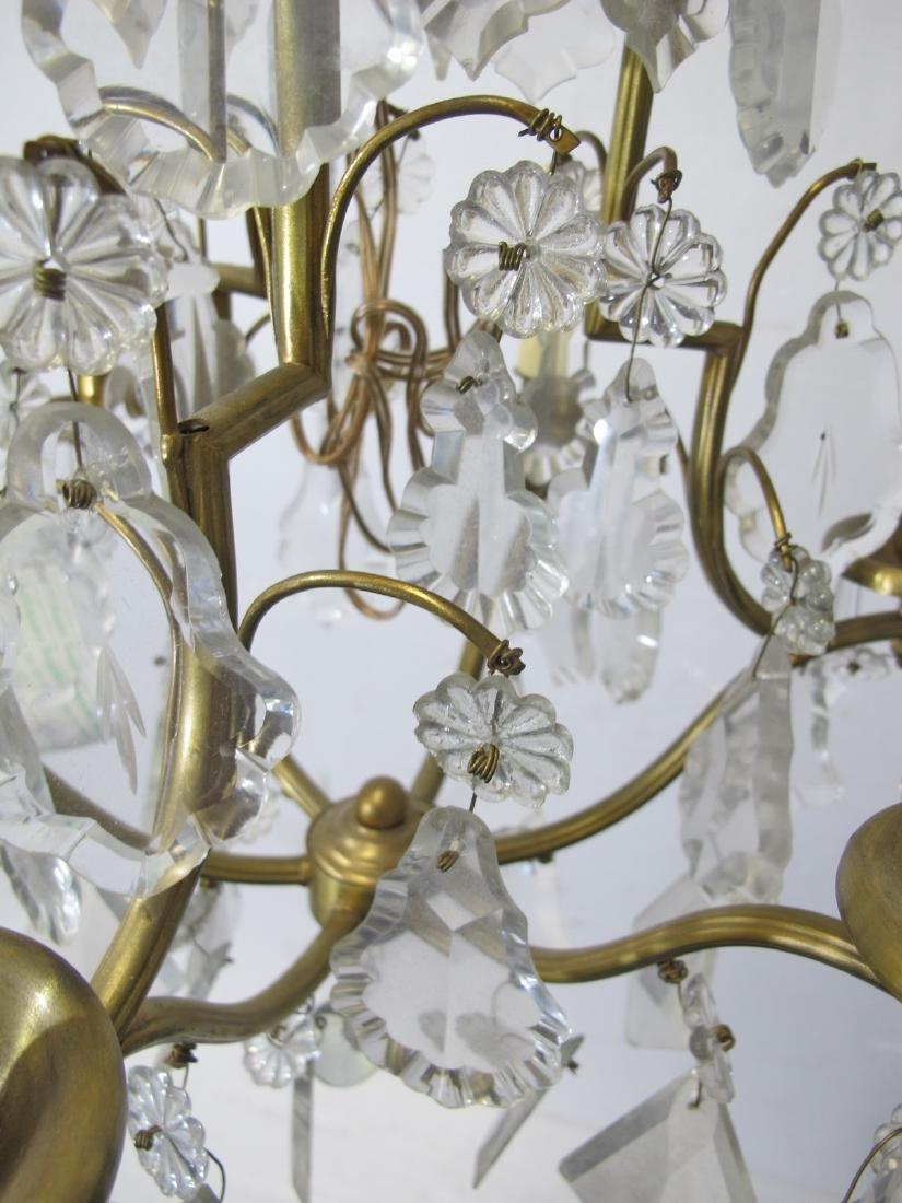 Antique French bronze & crystals chandelier - 9