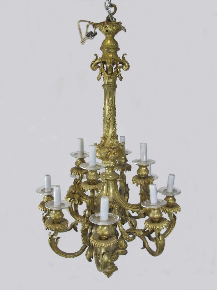 Antique French bronze & glass 12 lights chandelier