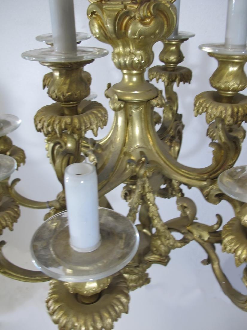 Antique French bronze & glass 12 lights chandelier - 4