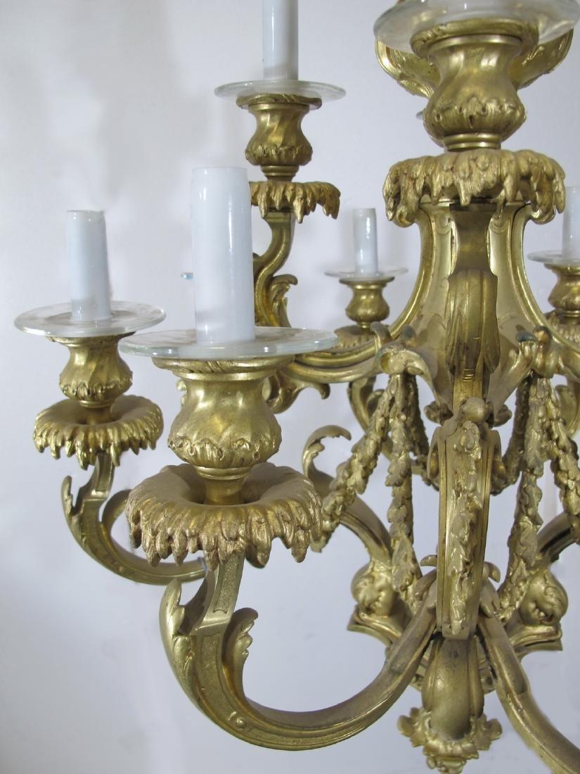 Antique French bronze & glass 12 lights chandelier - 5