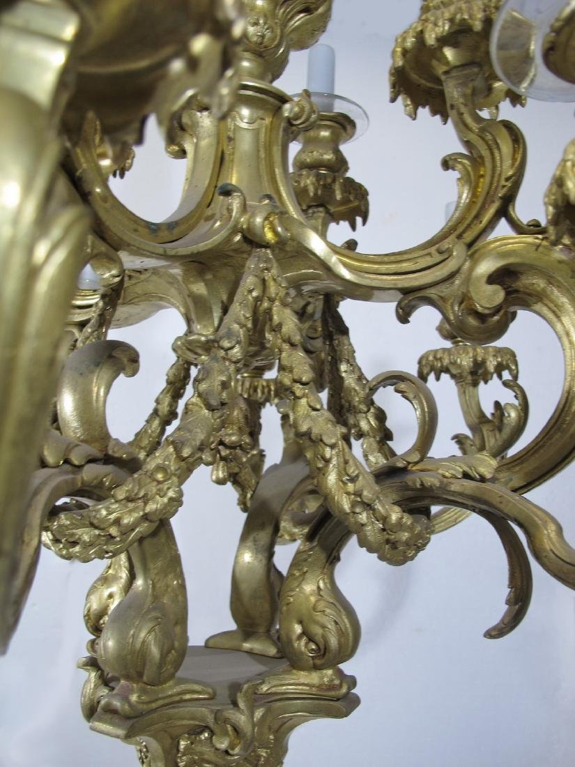Antique French bronze & glass 12 lights chandelier - 7