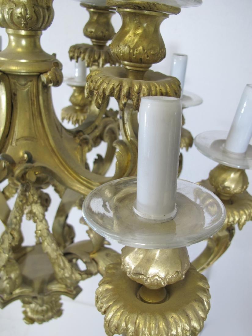 Antique French bronze & glass 12 lights chandelier - 8