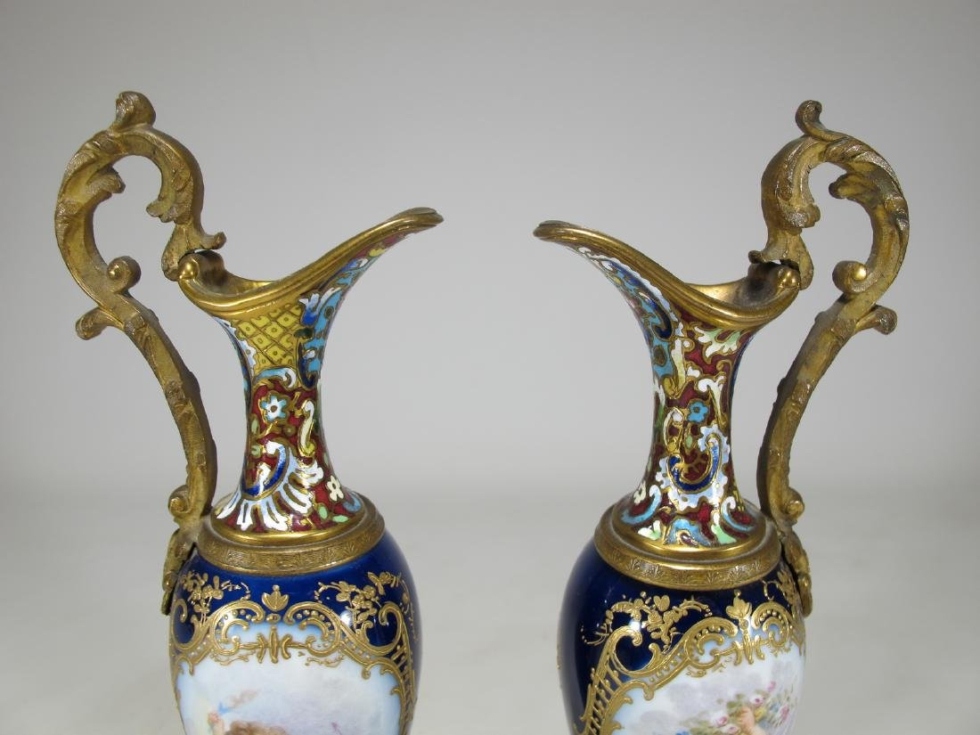 Antique pair of French Sevres bronze champleve & - 2