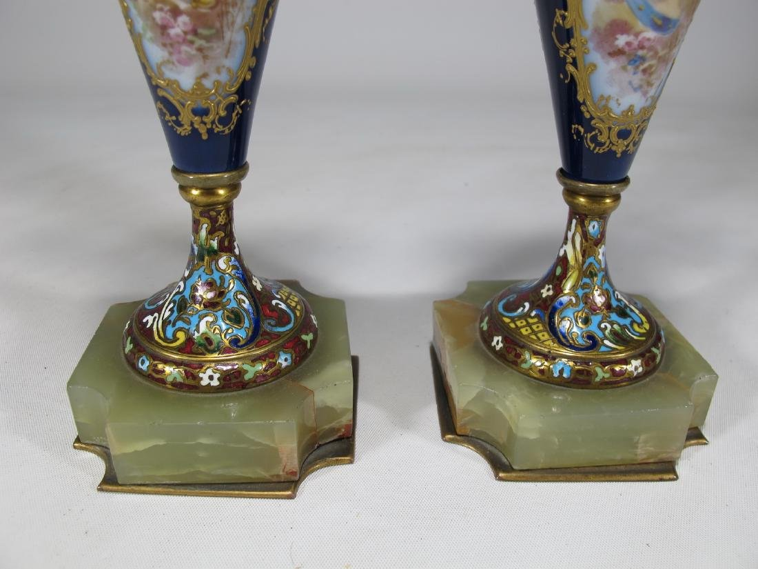 Antique pair of French Sevres bronze champleve & - 5