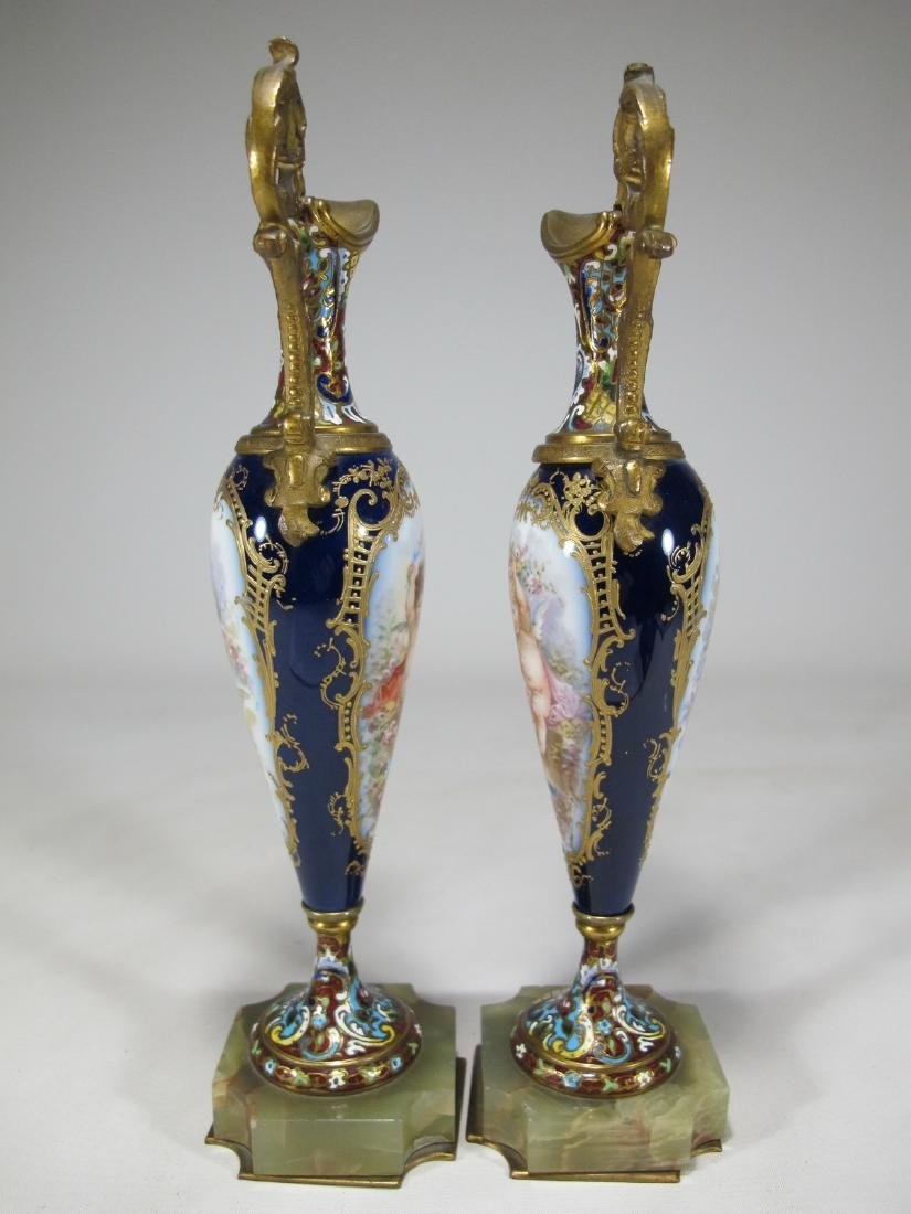 Antique pair of French Sevres bronze champleve & - 6