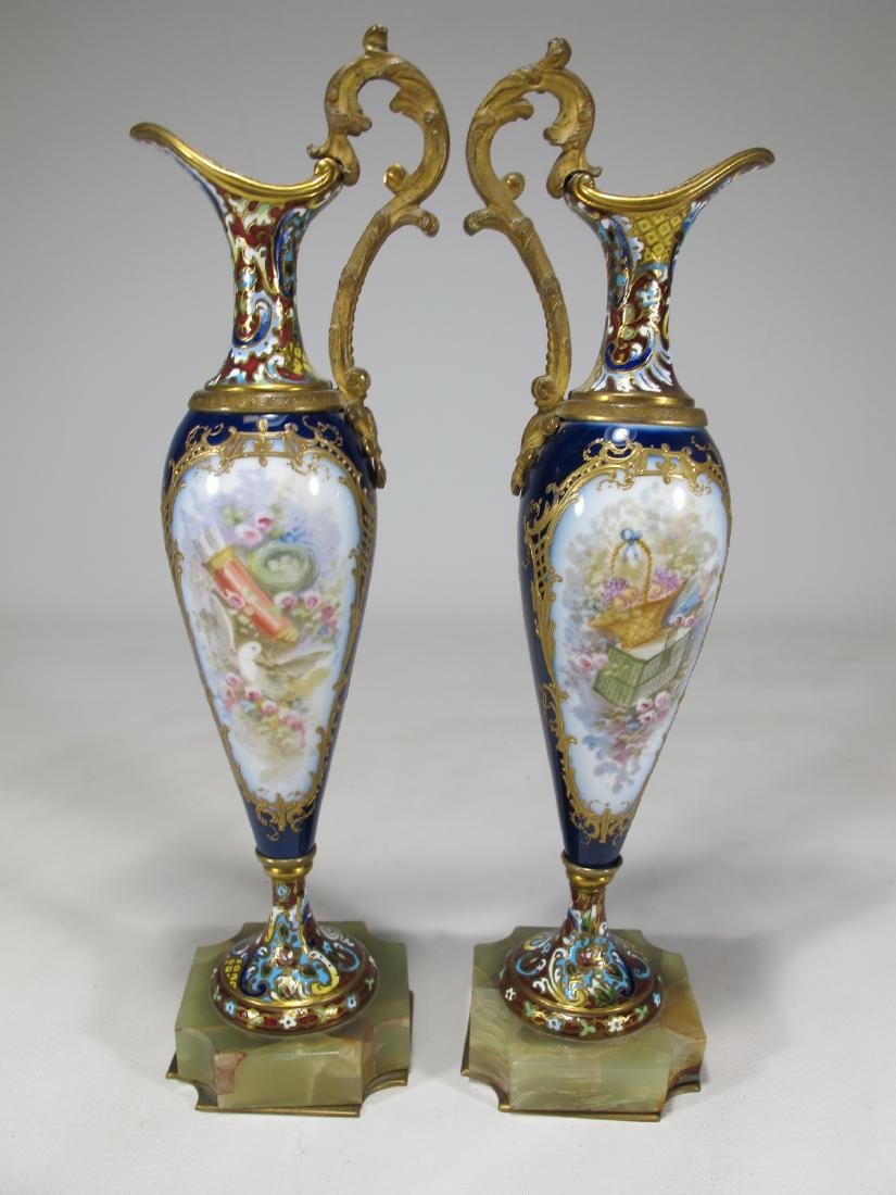 Antique pair of French Sevres bronze champleve & - 7