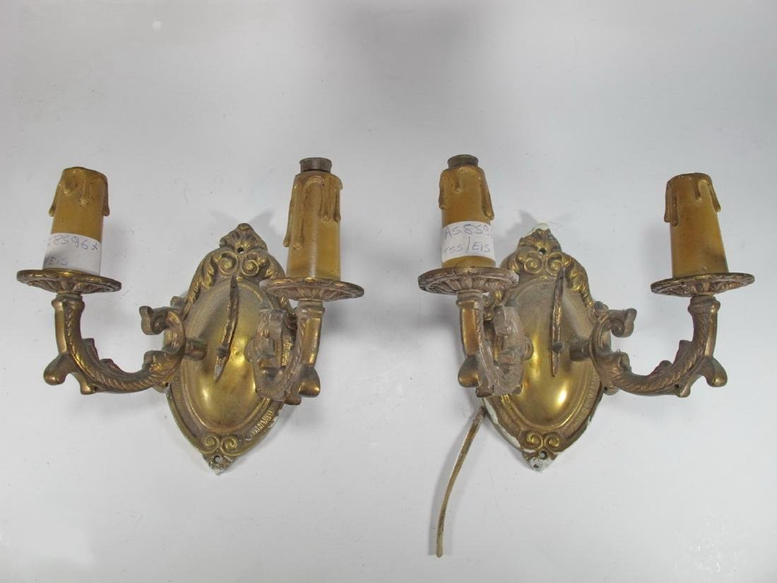 Antique pair of  French bronze wall sconces