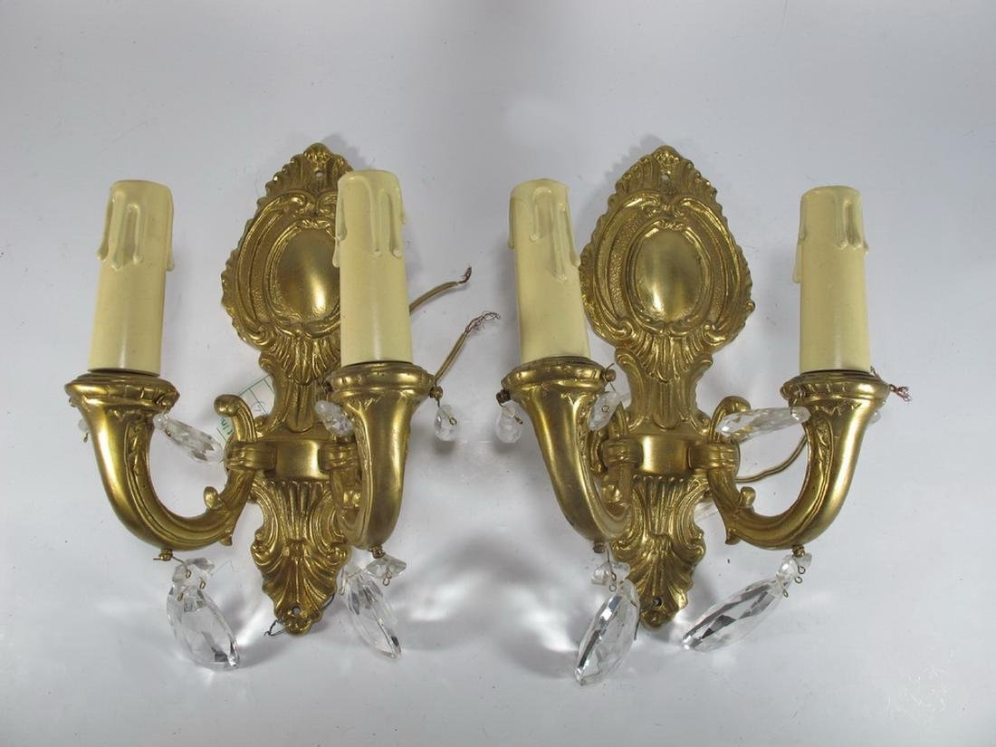 Antique pair of  French bronze & glass wall sconces