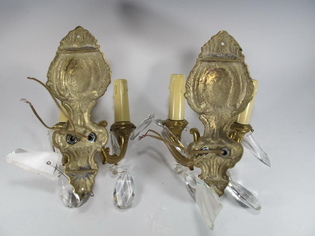 Antique pair of  French bronze & glass wall sconces - 5