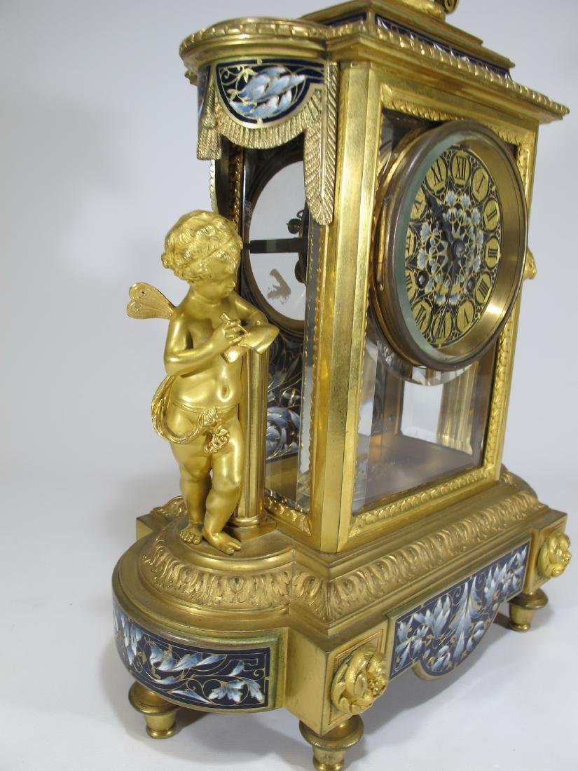 19th C French CHles Mt bronze champleve clock set - 10