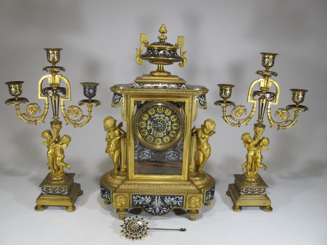 19th C French CHles Mt bronze champleve clock set